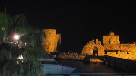 Sea castle at Sidon at night
