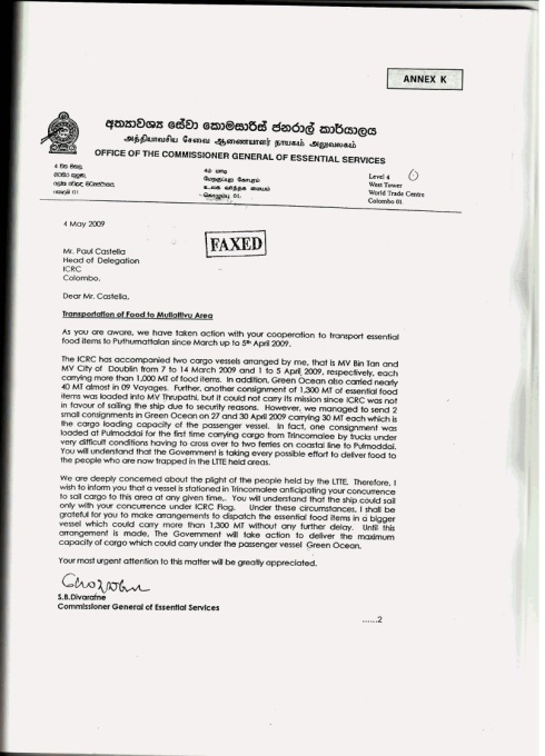 4 May 2009 - Letter to Paul Castella (ICRC) from the Office of the Commissioner General of Essential Services - Sri Lanka