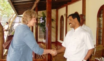 Joanna van Gerpen meeting with S. P. Tamilselvan, the political leader of the LTTE, in Kilinochchi.
