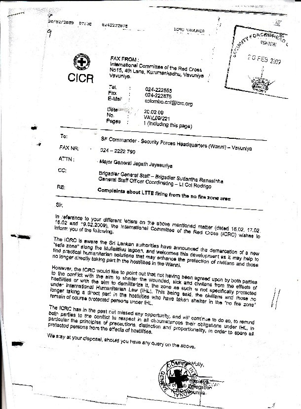 ICRC Letter 20 Feb 2009