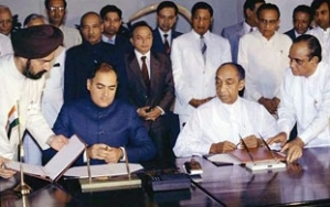 Indo-Lanka Peace Accord signed by the then Indian Prime Minister, Rajiv Gandhi and former President J. R. Jayewardene