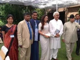 The trailer of Navin Gooneratne's film Siddhartha Gautama was screened at the inauguration by Indian Minister of External AffairsSalman Khurshid of a Conference in Chandigarh on the 'Changing Scenario in South Asia'. The picture shows Navin Gooneratne and the female lead in the film, Anchali Singh, with Minister Khurshid and Rashpal Malhotra of the Centre for Research in Rural and Industrial Development which hosted the Conference. Also in the picture are Ashani Abeyasekara of the Institute of Policy Studies and Prof Rajiva Wijesinha, MP, who made presentations at the Conference.