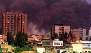 Smoke in Novi Sad after NATO bombardment - 1999
